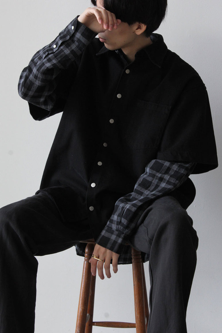 SHIRT OVERSIZED SS DENIM / WASHED BLACK