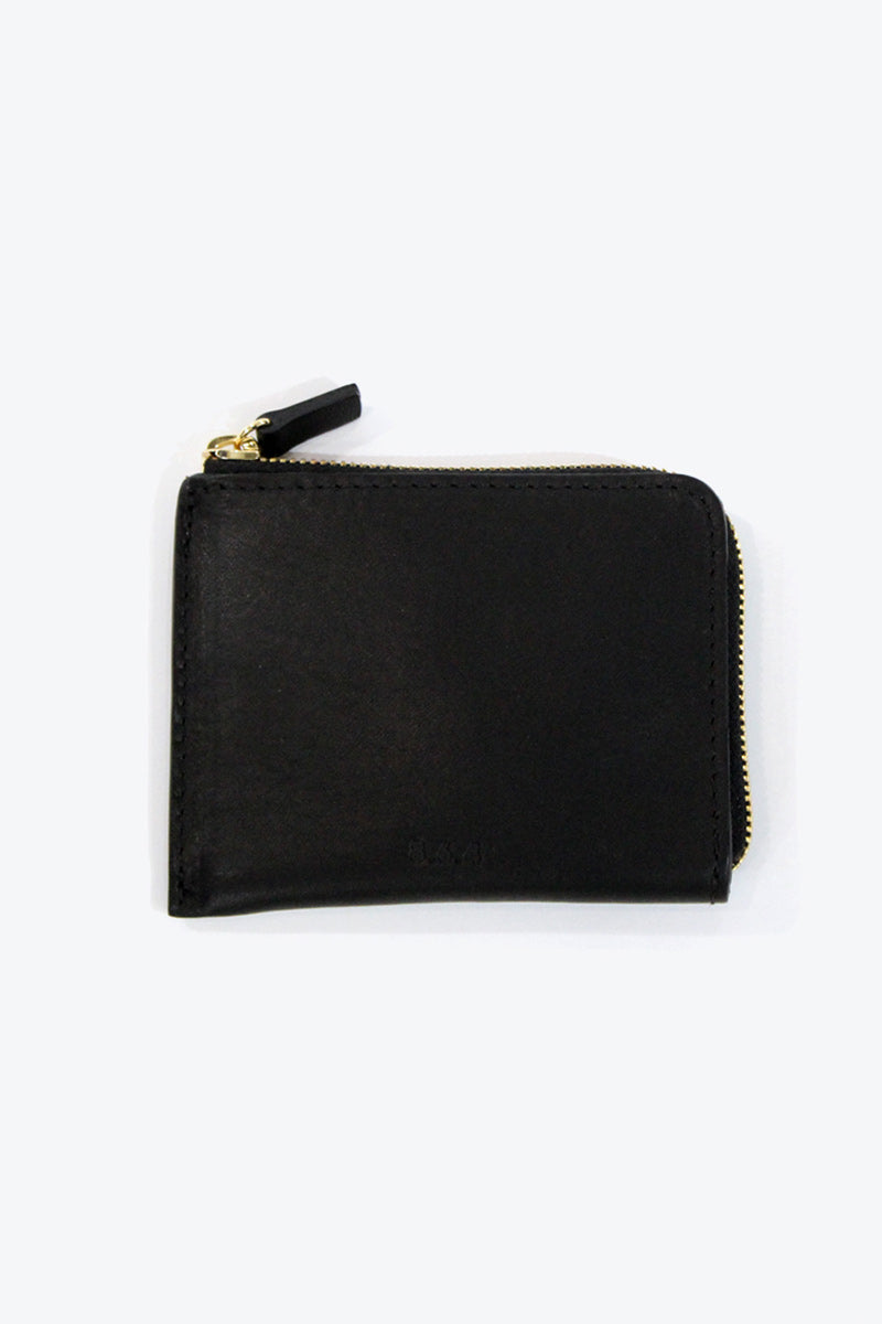 LEATHER ZIP WALLET / BLACK