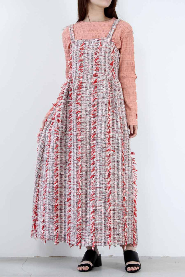 MENINA DRESS TWEEDY TWEED / CHERRY MULTI [30%OFF]