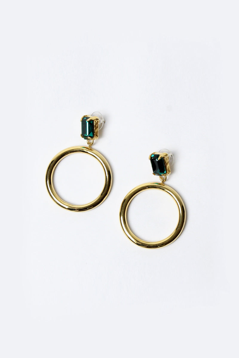 BACALL HOOP W/ EMELARD GLASS STONE / 18K YELLOW GOLD VERMEIL [30%OFF]