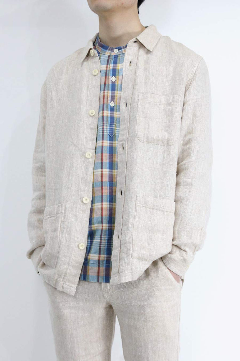 LINEN HERRINGBONE OVERSHIRT / NATURAL [40%OFF]