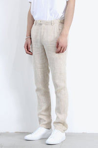 HERRINGBONE LINEN TROUSERS / NATURAL [40%OFF]