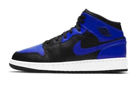 Nike Air Jordan 1 Mid Hyper Royal Blue Black White GS