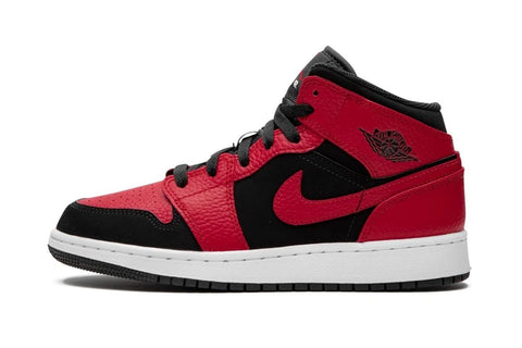 Nike Air Jordan 1 Mid 'Banned' Red Gym Black White (GS)