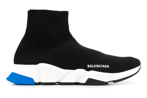 Balenciaga Speed Knitted Sock Hi-Top Sneakers Black Blue