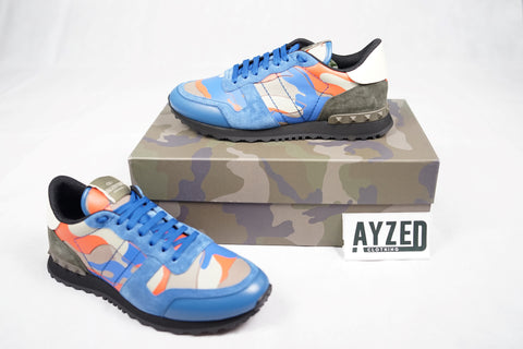 Valentino Rockrunner Blue And Orange Sneakers