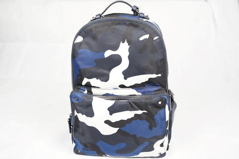 Valentino Garavani Blue Camouflage Backpack