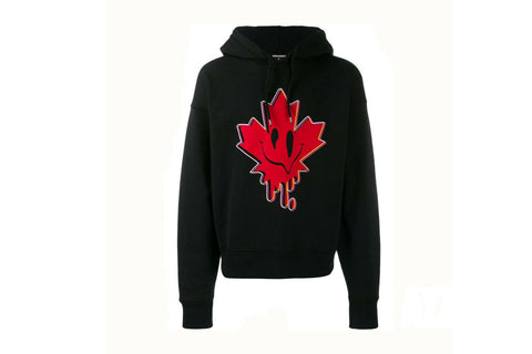 Dsquared2 Red Leaf Face Hoodie Black