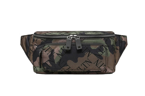 Valentino VLTN Grid Military Green Camouflage Belt Bag