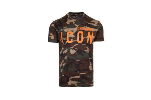 Dsquared2 Icon Camo Print Branded Jersey T-Shirt
