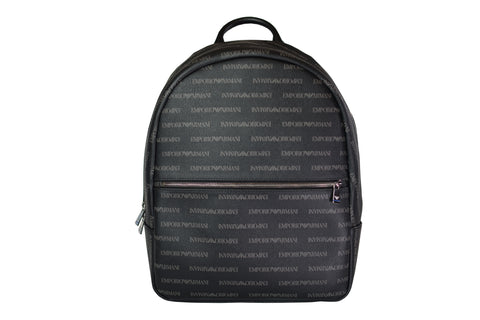 Emporio Armani All Over Logo Print Backpack Black