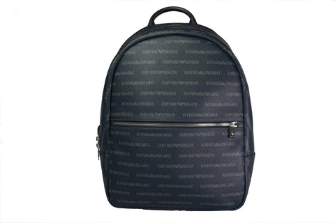 Emporio Armani All Over Logo Print Backpack Navy