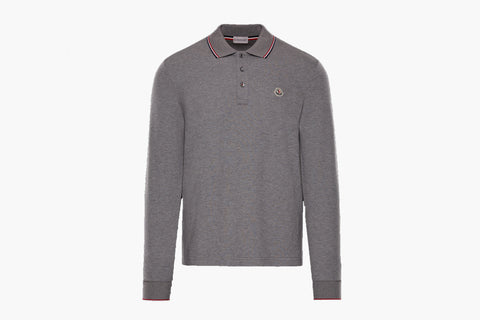 Moncler Grey Long Sleeve Polo Shirt