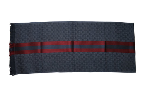 Gucci GG Blue Jacquard Knitted Scarf With Web