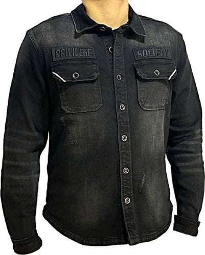 Black Oil - Button Up Denim Shirt