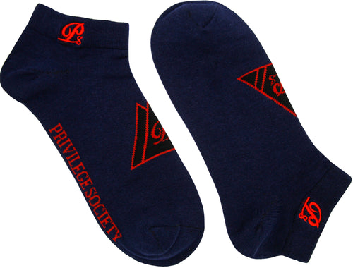 PS Triangle Ankle Socks - Navy/Red