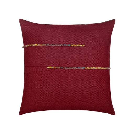"20"" x 20"" Micro Fringe Bordeaux pillow by Elaine Smith 