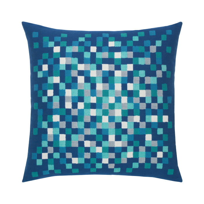 "22"" x 22"" Cobalt Check pillow by Elaine Smith 