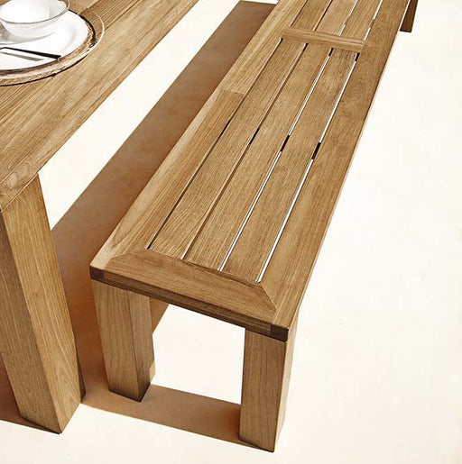 "Gloster Square 82.5"" Backless Bench. Natural finish teak frame with slatted top. Image provided courtesy of Gloster Furniture, inc."