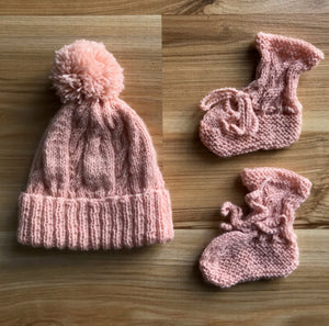 Hand Knitted Beanie & Booties Set - BLUSH PINK