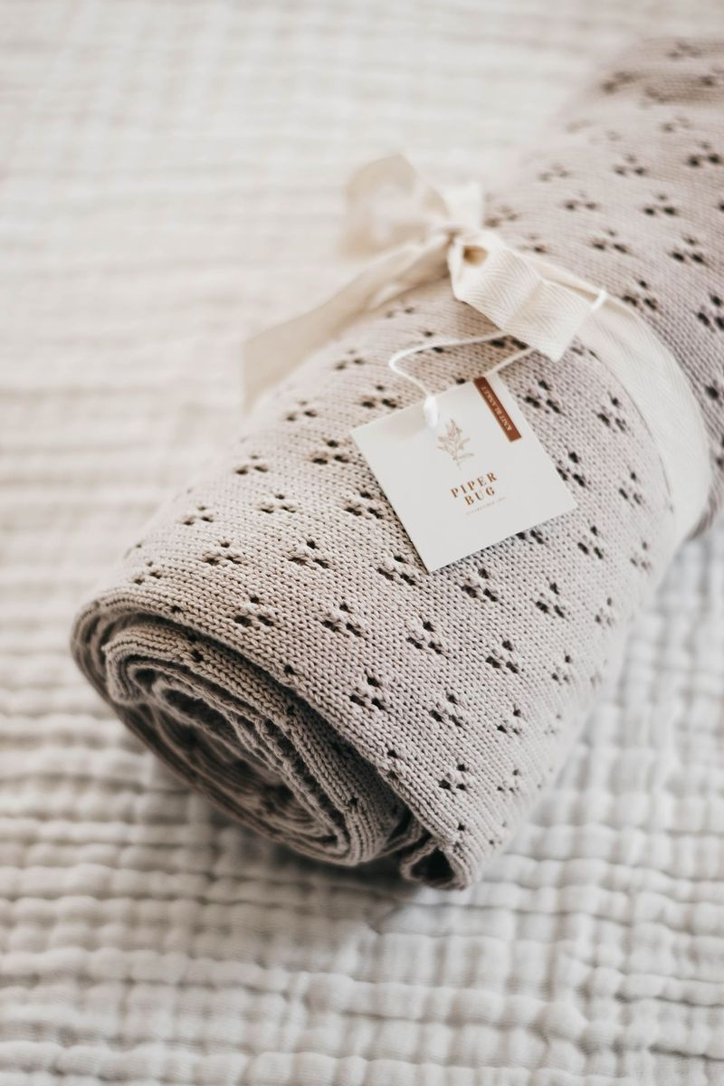 Piper Bug Heritage Knit Blanket - TAUPE