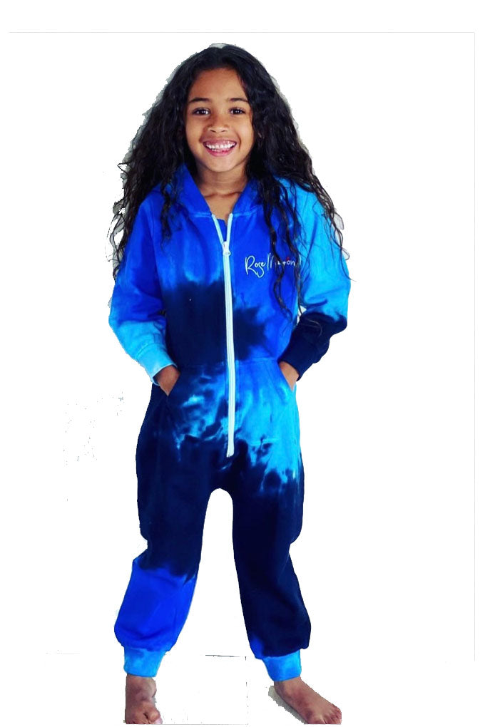 Rose Marron Kids Ocean Blue Tie Dye Onesie