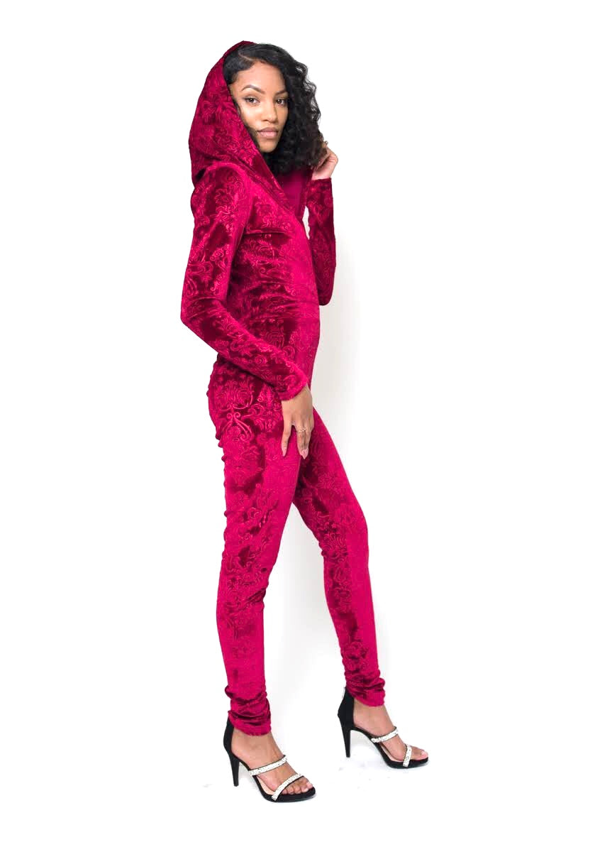 Rose Marron Red Velour Catsuit