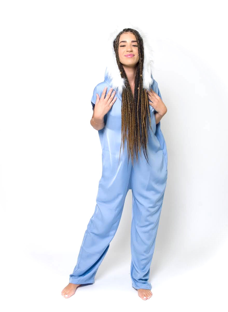 Rose Marron Sky Blue Onsie with Faux Fur