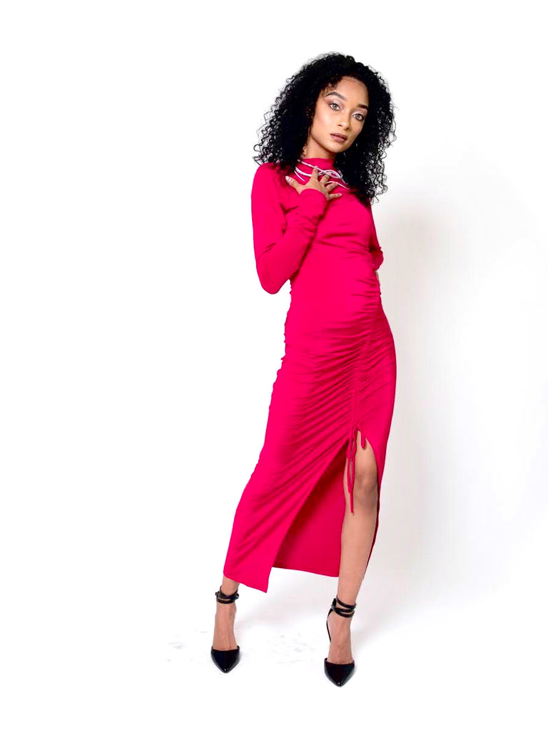 Rose Marron The Red Fitted Mock Neck Dress