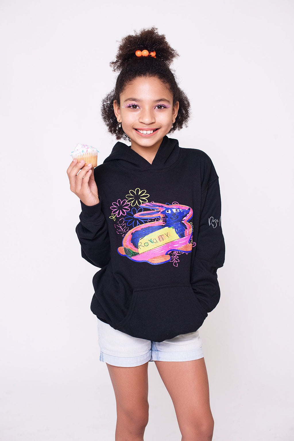 The Royalty Brown Bunny Hoodie in Black