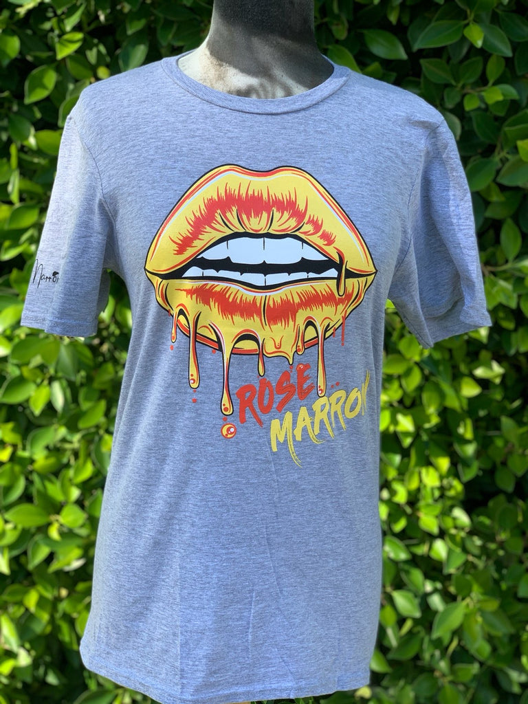 The Rose Marron Lips Tee in Gray and Yellow