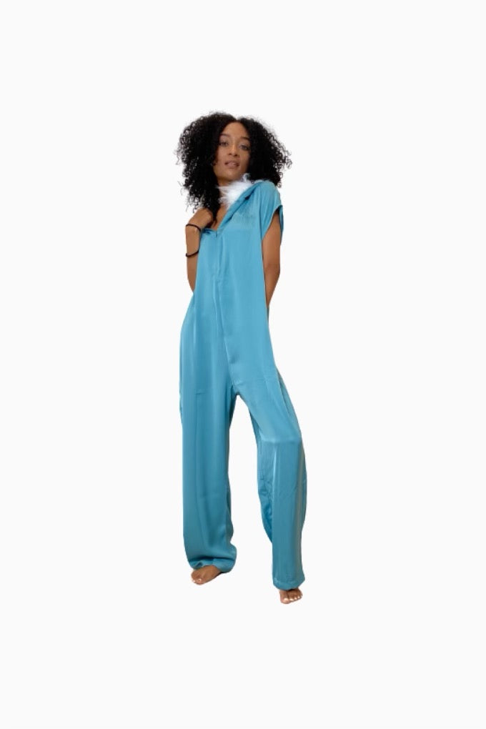 Rose Marron Mineral Blue Onesie With Faux Fur