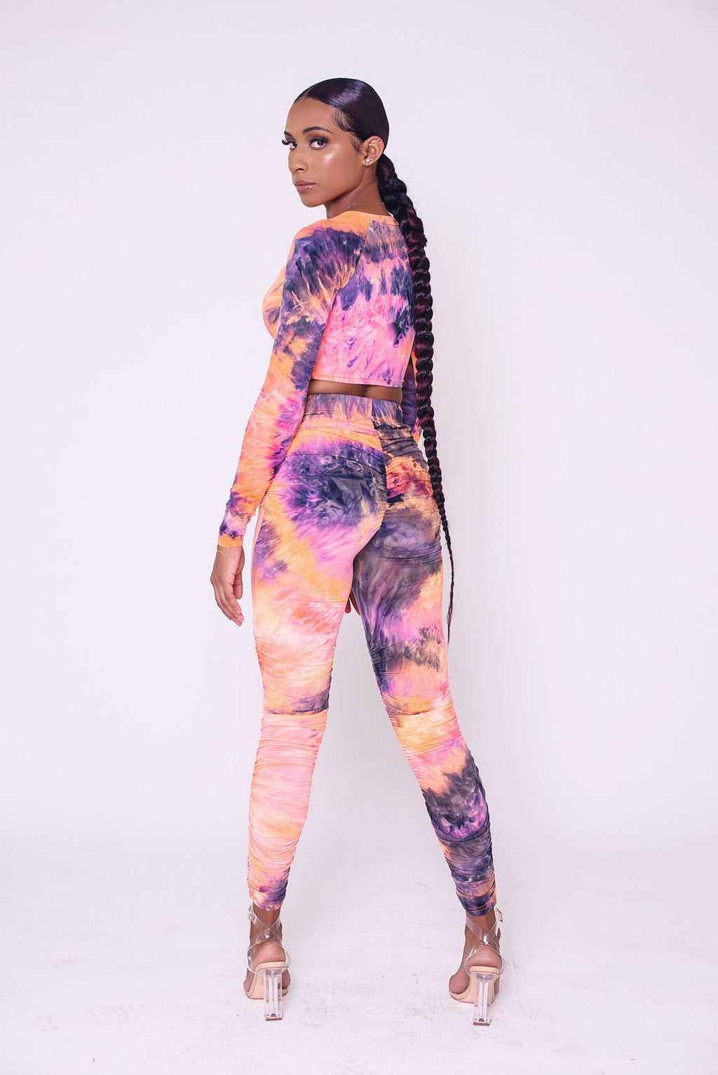 Tie-Dye Jumpsuit (2-piece) Peach and Purple
