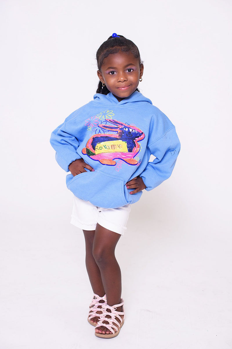 The Royalty Brown Bunny Hoodie in Blue