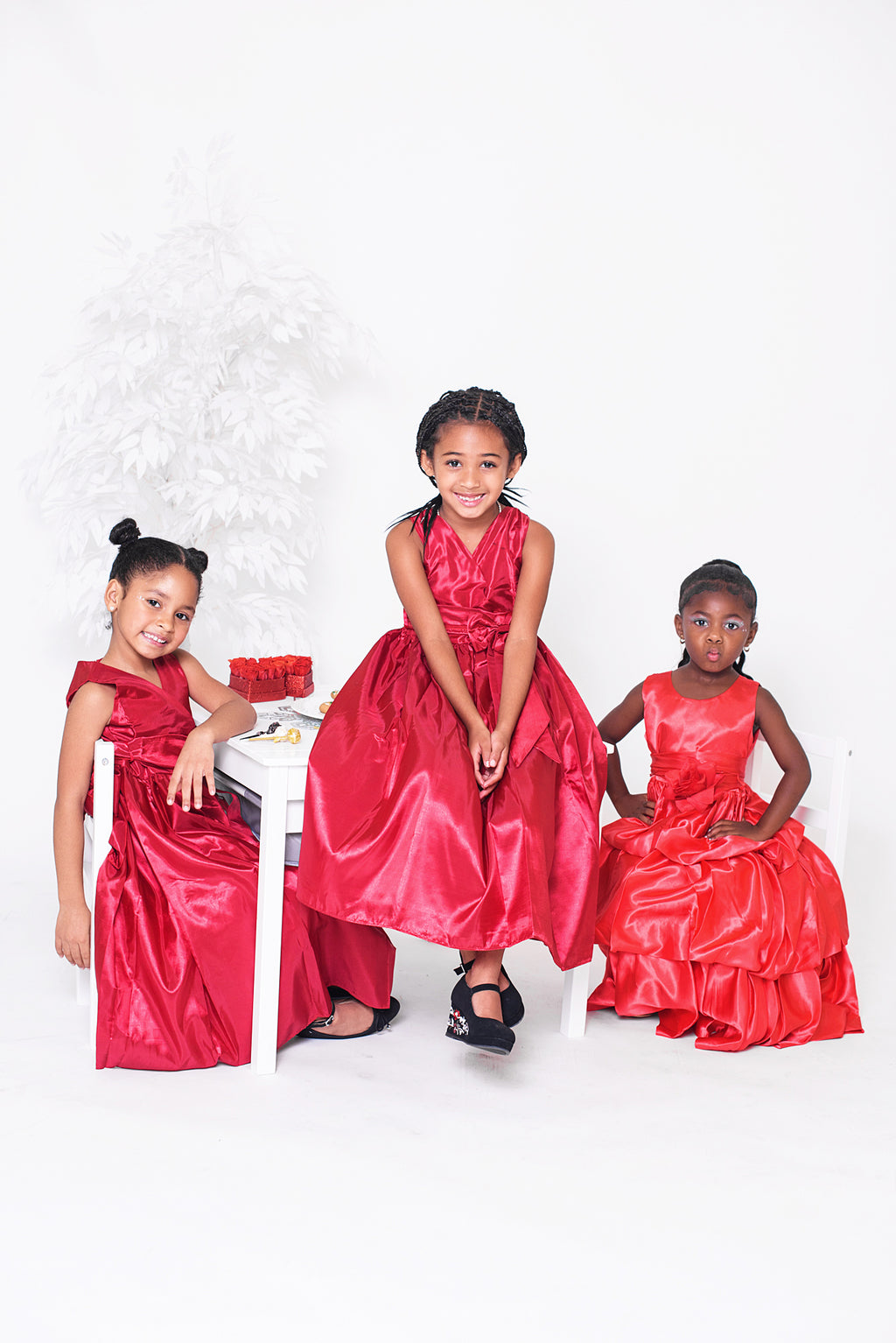 Rose Marron Kids Round Neck Red Christmas Dress