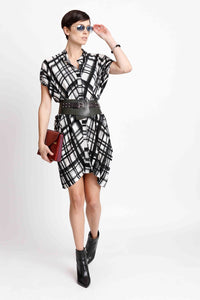Draped Button Down Shirt Dress in Check