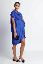 Load image into Gallery viewer, Draped Button Down Shirt Dress in Cobalt