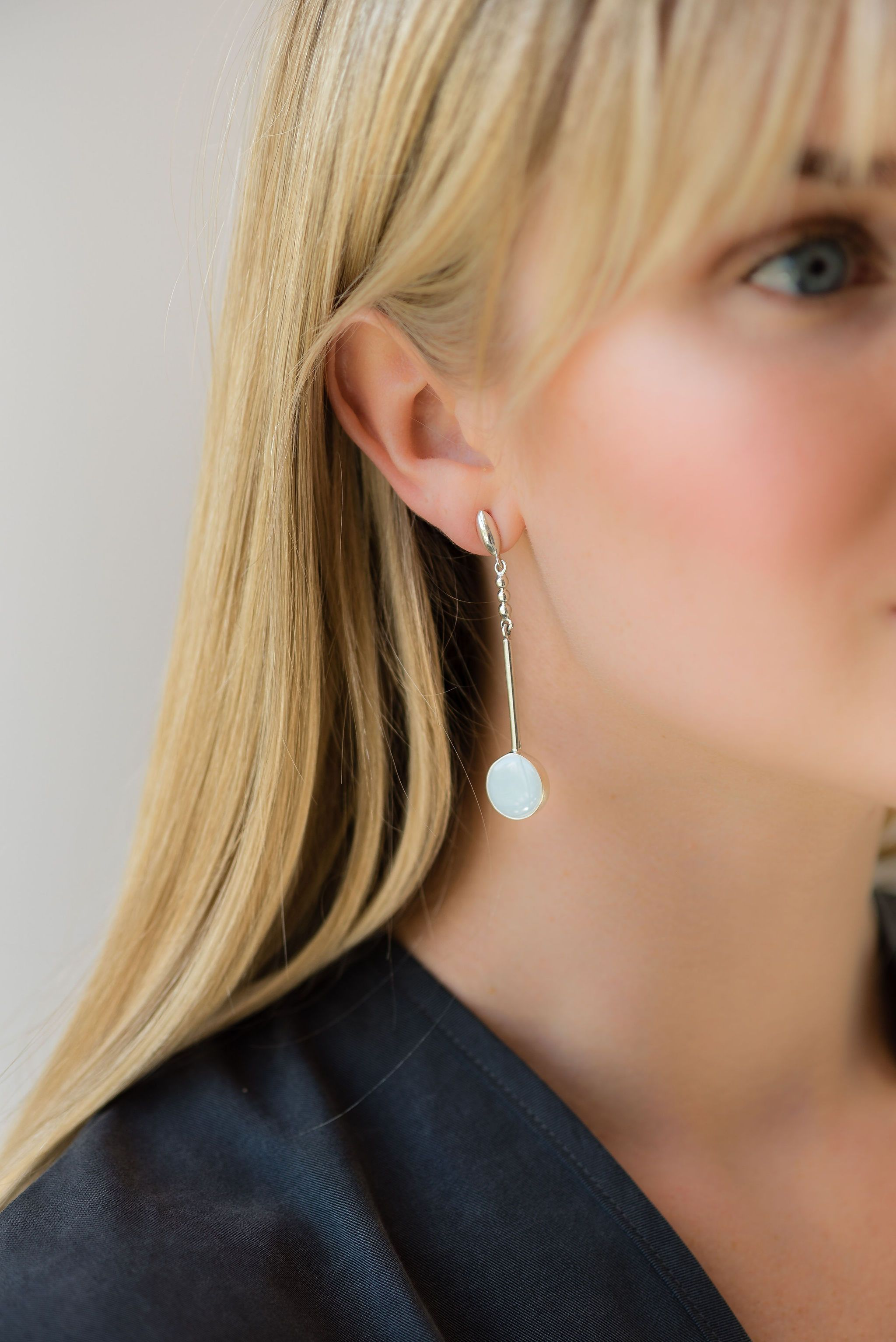 Adriana Earrings in Silver and Arctic Blue