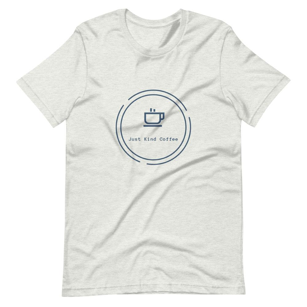 Short-Sleeve Unisex T-Shirt (Light Colors Blue logo) Just Kind Coffee Ash S