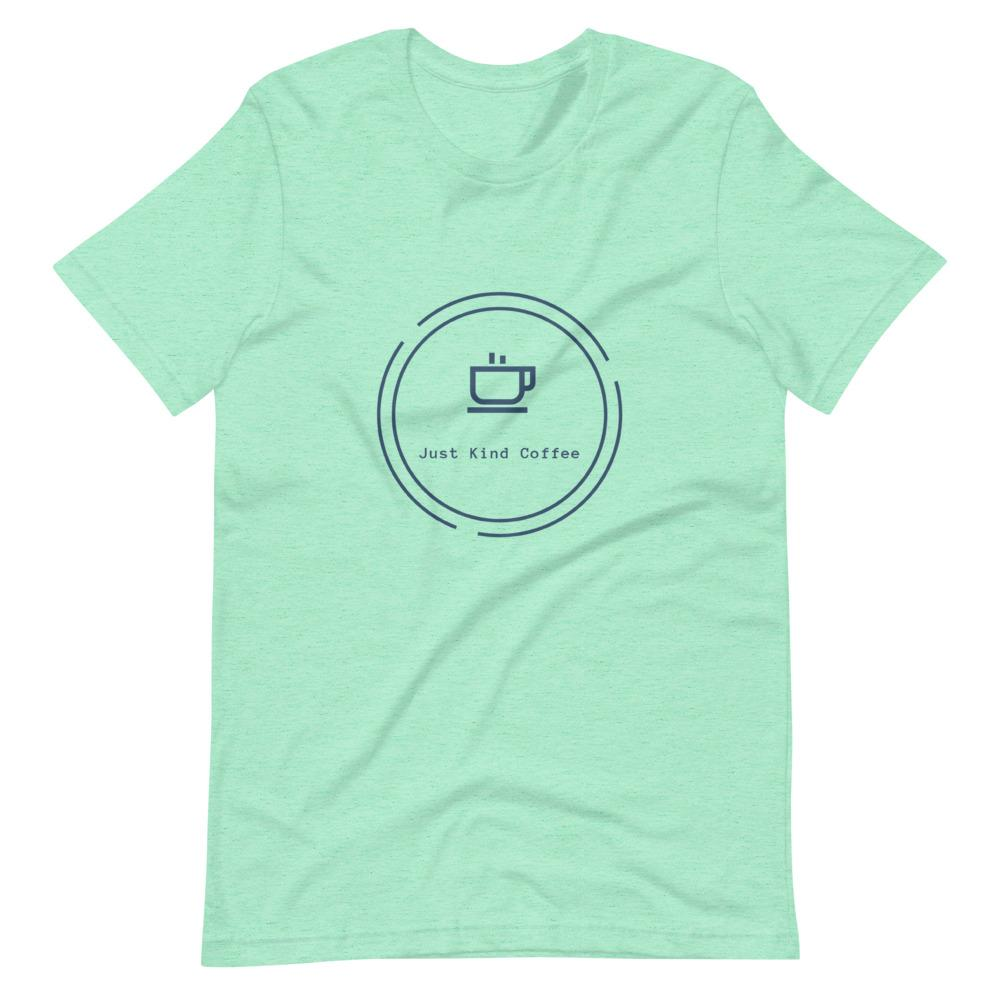 Short-Sleeve Unisex T-Shirt (Light Colors Blue logo) Just Kind Coffee Heather Mint S