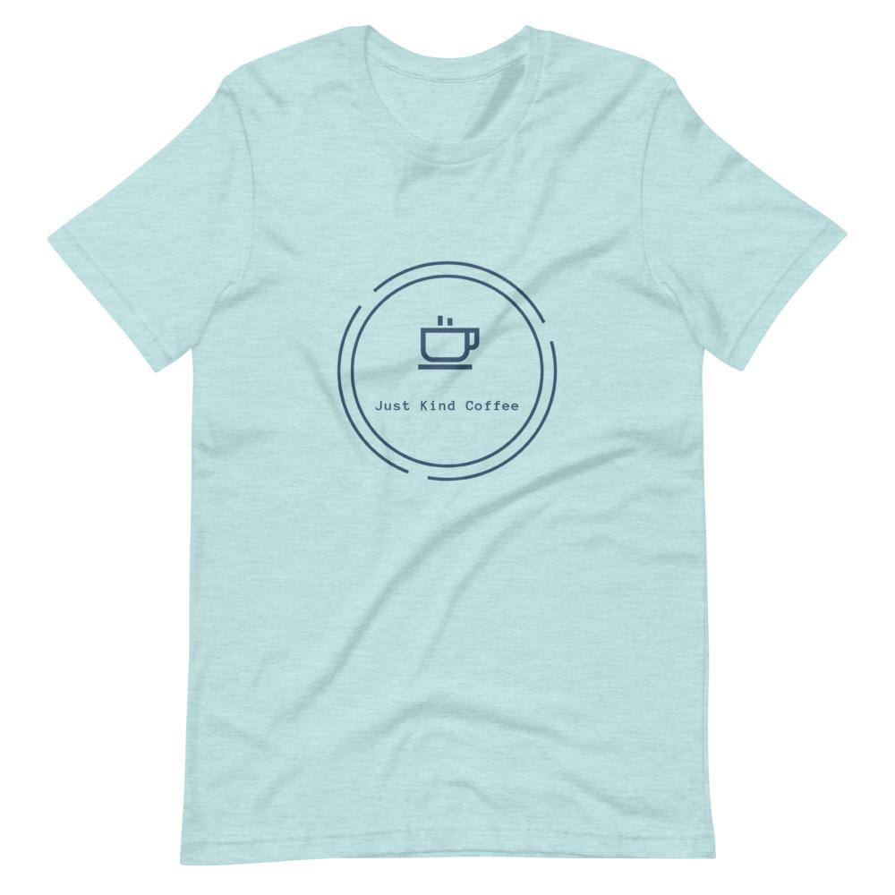 Short-Sleeve Unisex T-Shirt (Light Colors Blue logo) Just Kind Coffee Heather Prism Ice Blue XS
