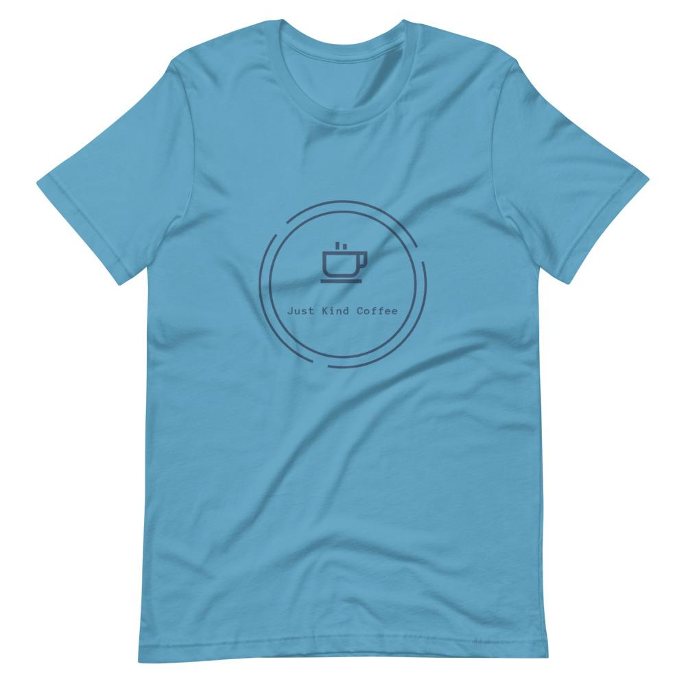 Short-Sleeve Unisex T-Shirt (Light Colors Blue logo) Just Kind Coffee Ocean Blue S