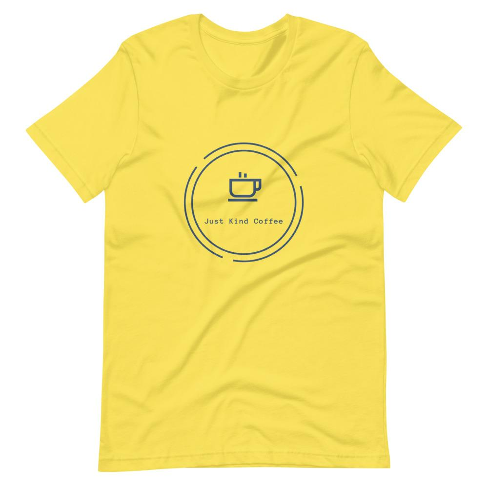 Short-Sleeve Unisex T-Shirt (Light Colors Blue logo) Just Kind Coffee Yellow S