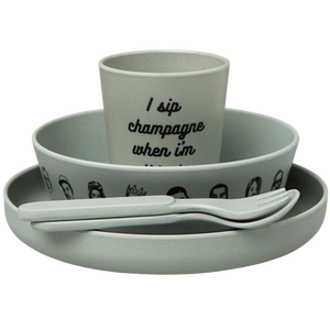 The Little Homie - 'Eat Was All A Dream' Bamboo Dinnerwear Set | Grey