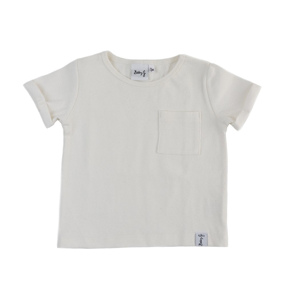 Bobby G Baby Wear - Boxy Ribbed Tee - White