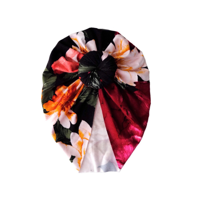 Sweet Tots Shop - SARA Top Knot Turban - Roses Floral (Black)