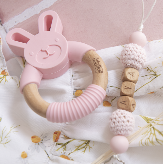 Babydoo - Easter Bunny Personalised Silicone Dummy + Teether Set
