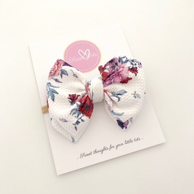 Sweet Tots Shop - FLORAL MESSY Bow in Soft Nylon Headband