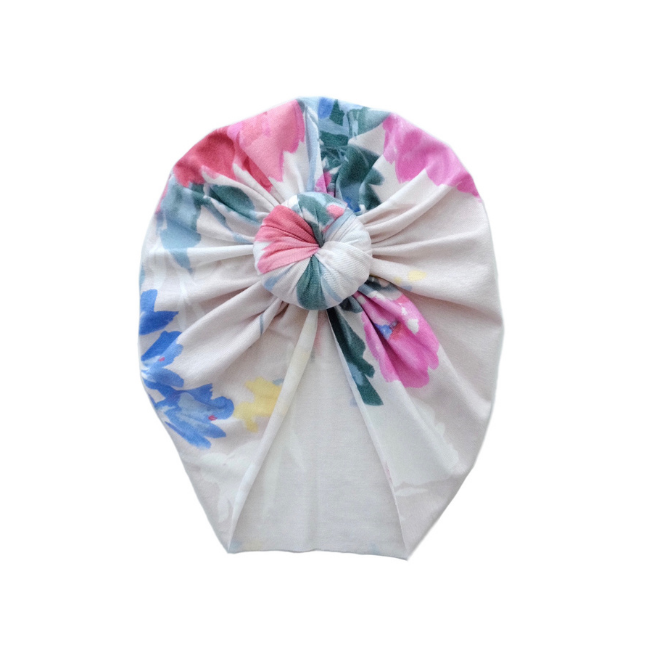 Sweet Tots Shop - SARA Top Knot Turban - Pastel Roses (Limited)