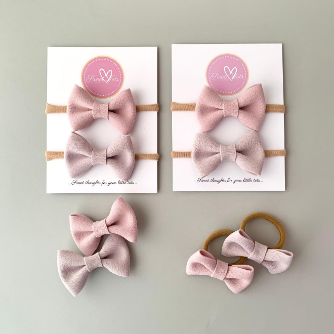 Sweet Tots Shop - Cindy Classic Bow Combo - Dusky Pink and Mushroom